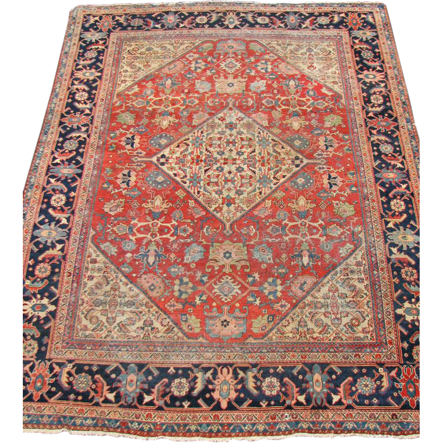 Antique Persian Mahal Oriental Wool Rug 9x11 FREE SHIPPING