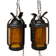 Arts & Crafts Pair of Lanterns w1754