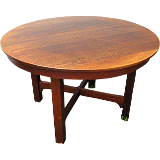 Antique Gustav Stickley Dining Table with Two Leaves  w1833