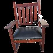 Antique Roycroft Large Arm Rocking Chair w1981