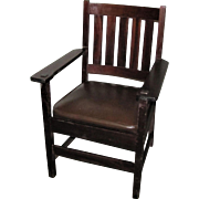 Pair of Arts & Crafts Stickley Brother Arm Chairs  w1992