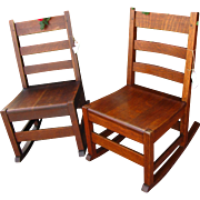Antique Pair of Stickley Brothers Rocking Chairs  w2043