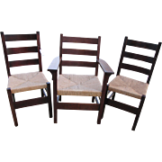 "Set of 3 Antique ""Gustav Stickley"" Dining Chairs MISSION Oak w2211"