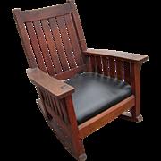 Superb Antique L&jG Stickley Arm Rocking Chair  w2492