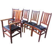 Superb Set of Five Antique Gustav Stickley Chairs In Harvey Ellis Design w2594   This set of chairs sold in the shop and no longer for sale.