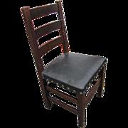 Superb Antique Arts & Crafts Heavy Side Chair  w2599