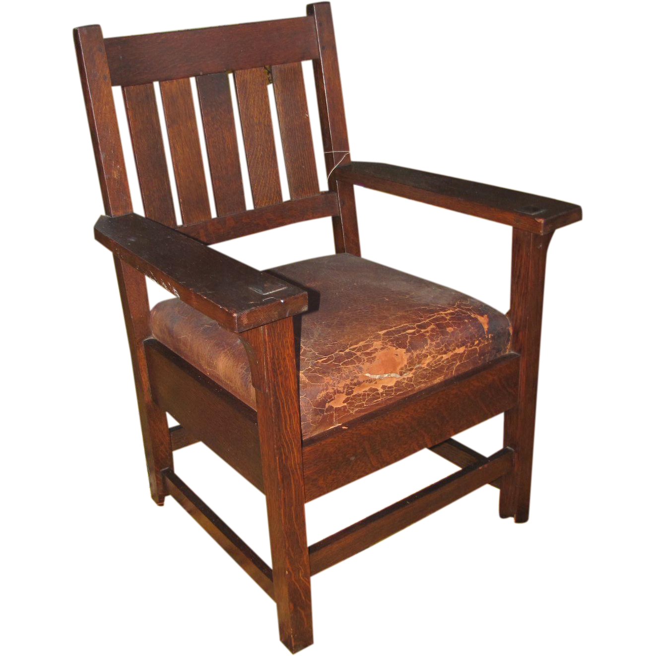 Antique early gustav stickley arm chair w2616 from antique for Mission furniture