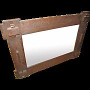 Antique Arts & Crafts Oak Wall Mirror  w2950