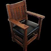 Antique Gustav Stickley V Back Arm Chair  w3172