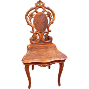 Antique Carved Black Forest Musical Chair w3893