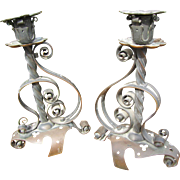 Antique Arts & Crafts PAIR of Brass Candlestick Holders  w3942