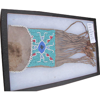 Antique Native American Sioux Beaded Tobacco Bag  w4253  FREE SHIPPING
