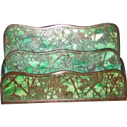 SUPERB Antique Tiffany Studios Letter Holder with Stained Glass   w5030