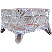 Fantastic Antique Libbey Cut Glass Square Glass Bowl with Feet  w5031