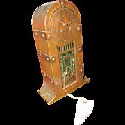 Antique Arts & Crafts Metal Mantel Clock w5061