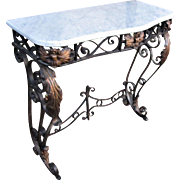 Fantastic Louis 15th Style Metal Console with Marble Top  w5090