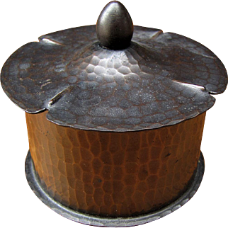 Antique Roycroft Hammered Copper Inkwell  w5253