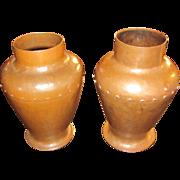 Antique Pair of Large Gustav Stickley Vases  w7