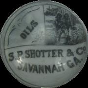 Glass  Frit Advertising Paperweight S P Shotter Oil Company Savannah GA