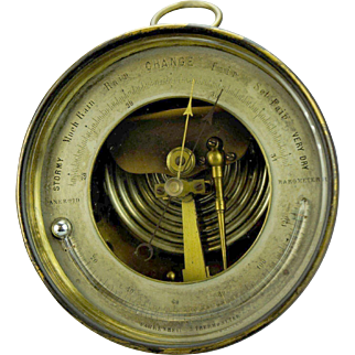Sewill Aneroid 1880's Barometer Thermometer