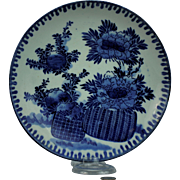 Chinese Export Charger Plate Blue Basket with Floral Design