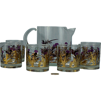 Gregory Duncan Thistle and Gold Lowball Juice Set