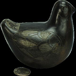 Handmade Southwestern Black Pottery Bird