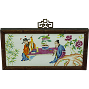 Chinese Famille Rose Painted Porcelain Tile Republic Period