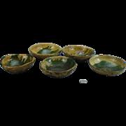 5  Very Early North Carolina Manganese decorated bowls