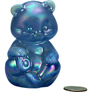 Fenton Blue Glass Star Bear Figure