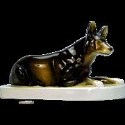 Large Royal Dux Bohemia Alsatian German Shepherd Dog Figurine