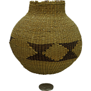 Tweed weave Native American basket  double diamond hour glass design