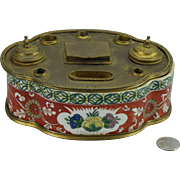 Elaborate R Koladin French Limoges Hand Painted Inkwell ink well