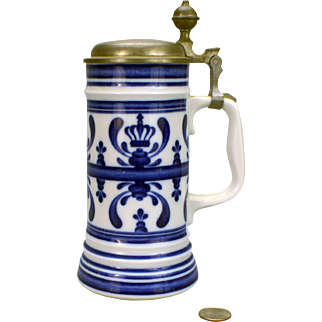 Hand Painted Hdpt German Royal Crown Blue Delft Stein