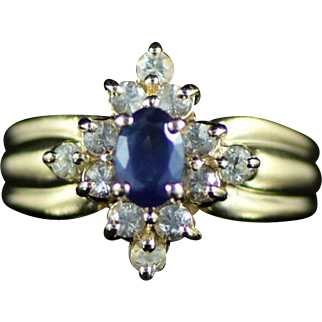 Vintage 14K 0.92 Cttw Blue & White Sapphire Halo Ring Size 6.75 Yellow Gold