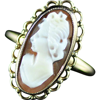 Vintage 10K Cameo Filigree Ring Size 5 Yellow Gold