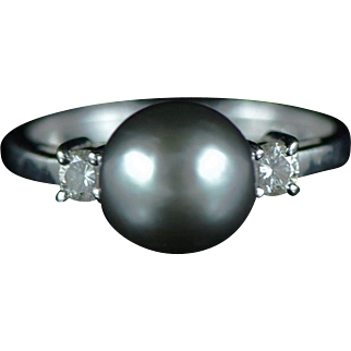 Vintage 14K 9mm Tahitian Cultrued Pearl & Diamond Classic Ring Size 7 White Gold