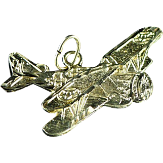 Vintage 14K Monoplane Airplane Charm in Yellow Gold
