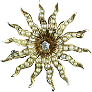 Victorian 14K 0.09 Ct Diamond & Seed Pearl Starburst Pin / Brooch Yellow Gold