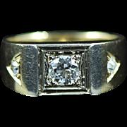 Vintage 14K 0.42 Cttw Diamond Men's Statement Ring Size 8.75 Yellow Gold