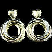 Vintage 18K Heart Interlocking Circle Earrings Tri Color Gold