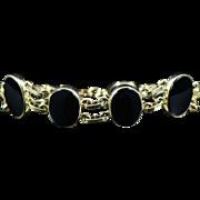 """Vintage 14K Black Onyx Fashion Bracelet 7.5"""" Yellow Gold"""