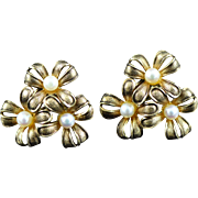 Vintage 10K Cultured Pearl Floral Motif Earrings Yellow Gold