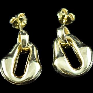 Vintage 18K Freeform Dangle Earrings Yellow Gold
