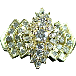 Vintage 14K 0.88 Cttw Diamond Cluster Step Ring Size 7 Yellow Gold