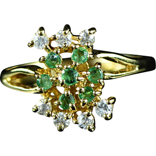 Vintage 14K 0.49 Cttw Emerald & White Sapphire Cluster Ring Size 6.5 Yellow Gold