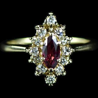 Vintage 14K 0.52 Cttw Rhodolite Garnet & Diamond Cluster Ring Size 4 Yellow Gold