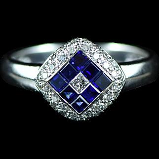 Vintage 18K 0.56 Cttw Diamond & Sapphire Invisible Set LeVian Designer Ring White Gold