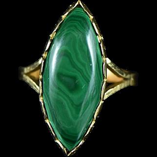 Vintage 22K 12 Ct Cabochon Green Malachite Ring Size 8.75 Yellow Gold
