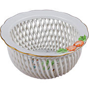 Herend Rosehip Pattern Open Weave Basket